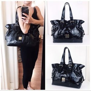 LG Dooney & Bourke Croc Embossed Leather Tote Bag